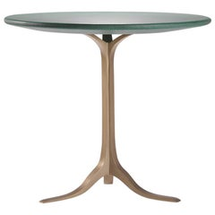 Bespoke Round Table, Wood Covered Leather, Brass Base by P. Tendercool