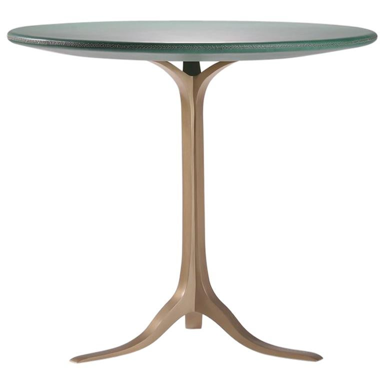 Bespoke Round Table, Wood Covered Leather, Brass Base by P. Tendercool  For Sale