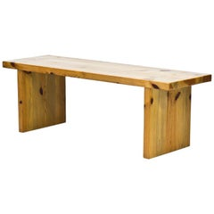 Scandinavian Solid Pine Bench, Table, Sweden, 1970s