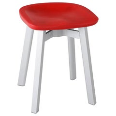 Emeco Su Small Stool in Natural Aluminum with Red Seat by Nendo