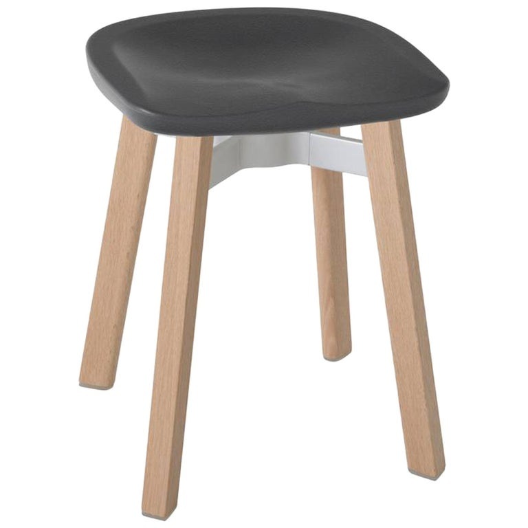 Emeco Su Small Stool in Wood W/ Charcoal Seat by Nendo For Sale