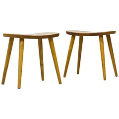 "Mid-Century Modern ""Palle"" Stools in Birch by Yngve Ekström, Sweden, Set of 2"