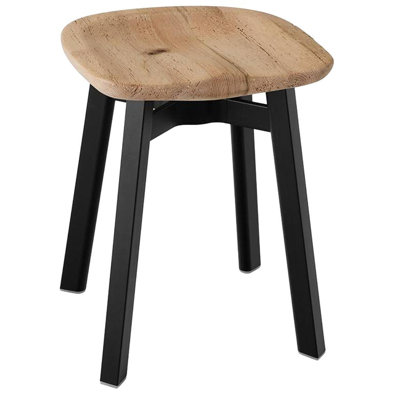 Emeco Su Small Stool in Black Aluminum w/ Reclaimed Oak Seat by Nendo For Sale