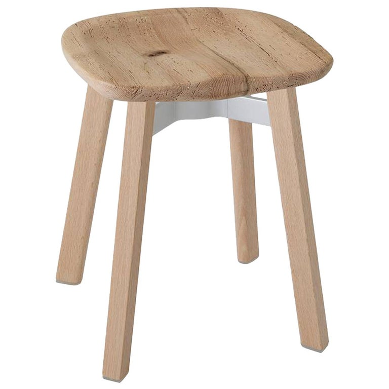 Emeco Su Small Stool in Wood w/ Reclaimed Oak Seat by Nendo For Sale