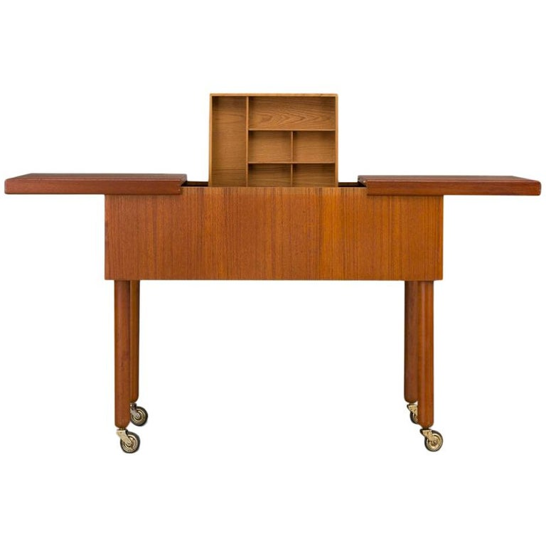 Mid-Century Modern Danish Teak Sewing Table, 1960s For Sale