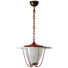 1950s Lantern, Glass, Brass and Red Lacquered Shade