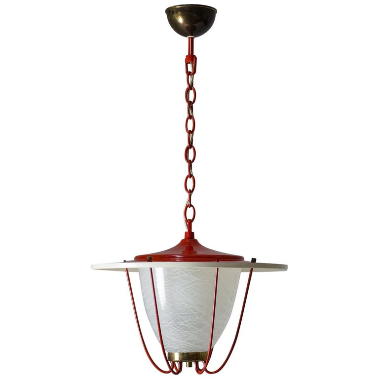 1950s Lantern, Glass, Brass and Red Lacquered Shade For Sale