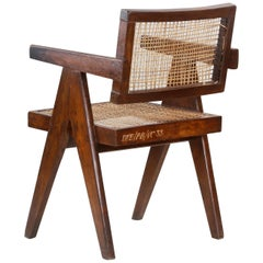 Pierre Jeanneret Office Cane Chair PJ-SI-28-A with Letters