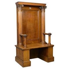 Large Antique Oak Throne Chair, Edwardian, Seat, Classical, Corinthian