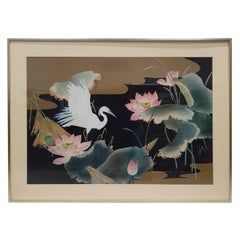 Watercolor Painting Behind Glass from White Heron with a Brass Frame, 1980s
