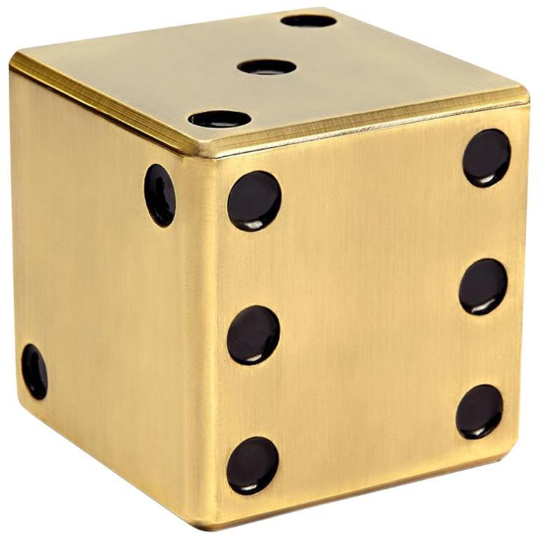 Dice Brass Box in Antique Brass Finish