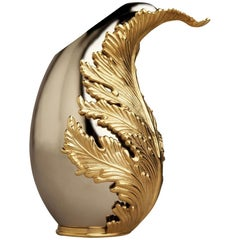 Gold Leave Vase with 24-Karat Gold Plate