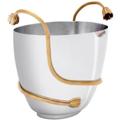 Gold Stalk Champagne Cooler with 24-Karat Gold-Plated
