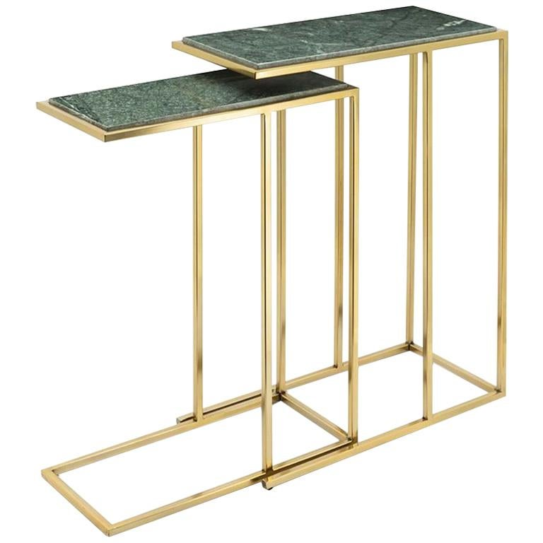 Green Stone Set of 2 Side Table in Gold Finish For Sale