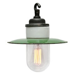Green Enamel Vintage Industrial Cast Iron Porcelain Glass Pendant Lights