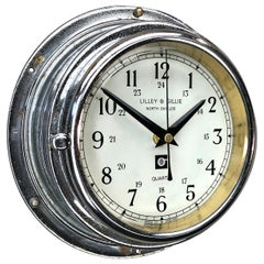 Late Century Lilley & Gillie Chromed Brass Wall Clock Beveled Glass Marine Dial