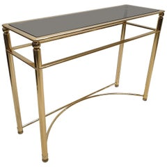 Gold-Plated Console Table with Smoked Cut Glass, 1980s