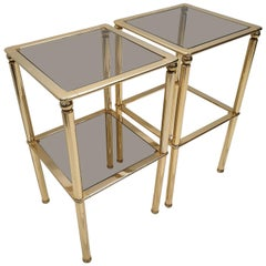 Pair of Gold-Plated and Smoked Glass Side Tables, 1980s, Set of 2