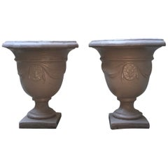 Pair of Italian Neoclassical Style Stone Paste Gardens Urns Hand Paint Mud Color