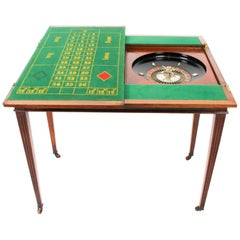 Antique French Burr Walnut Games Roulette Table, 19th Century