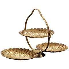 Triple Shell Serving Piece in Vintage Brass