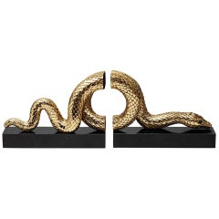 Snake Gold Bookend Set Gold Plated or Platinum Plated