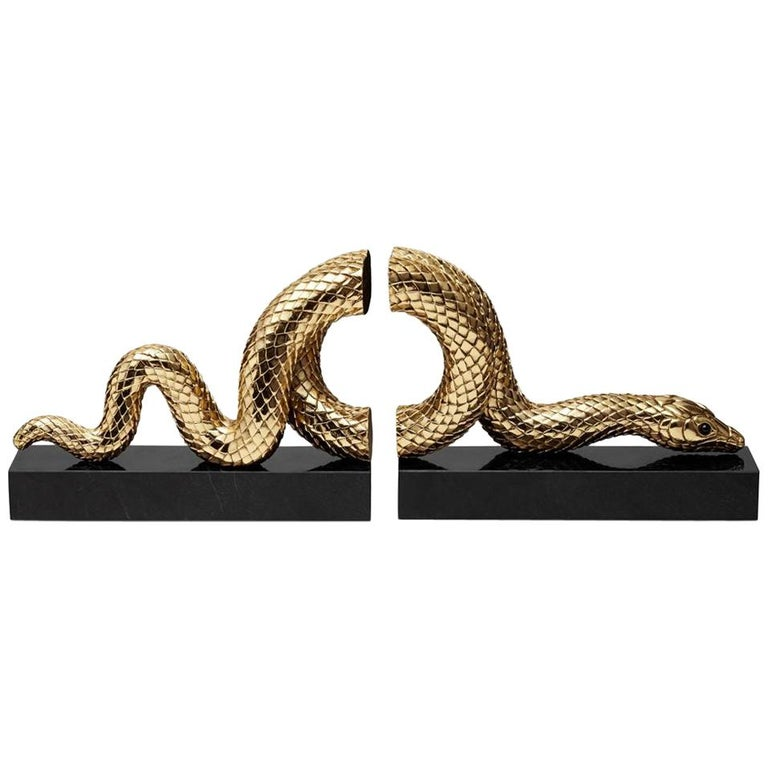 Snake Gold Bookend Set in Gold or Platinum Plated For Sale