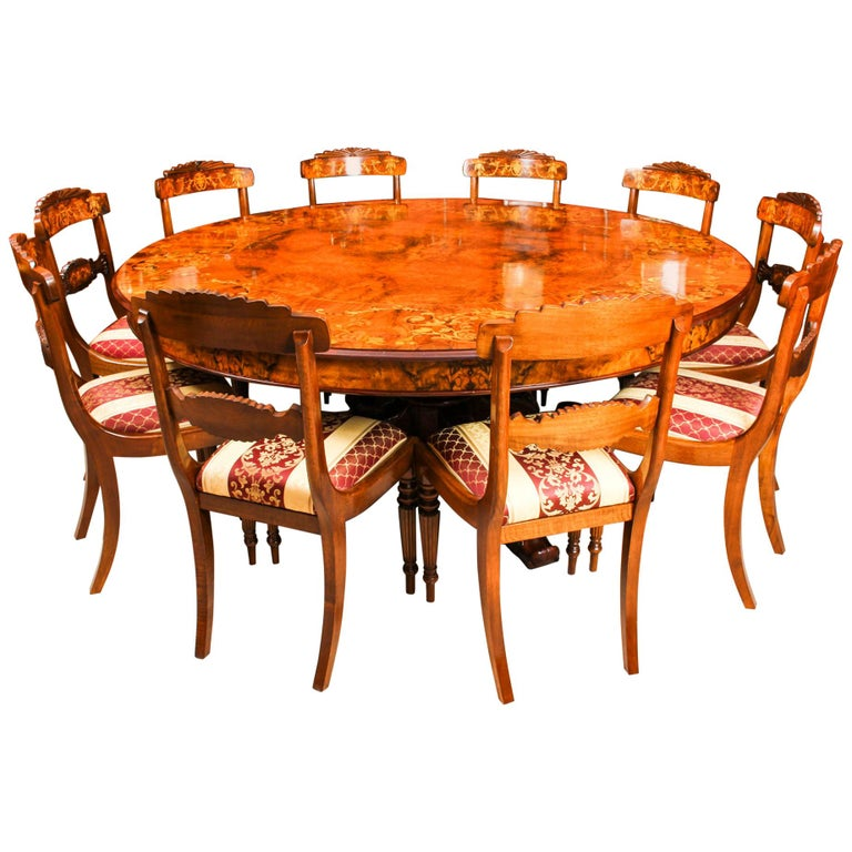 Vintage Round Marquetry Dining Table And 10 Chairs For