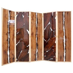 Bricole and Tobacco Leaves with Resin Folding Screen 5 Panels