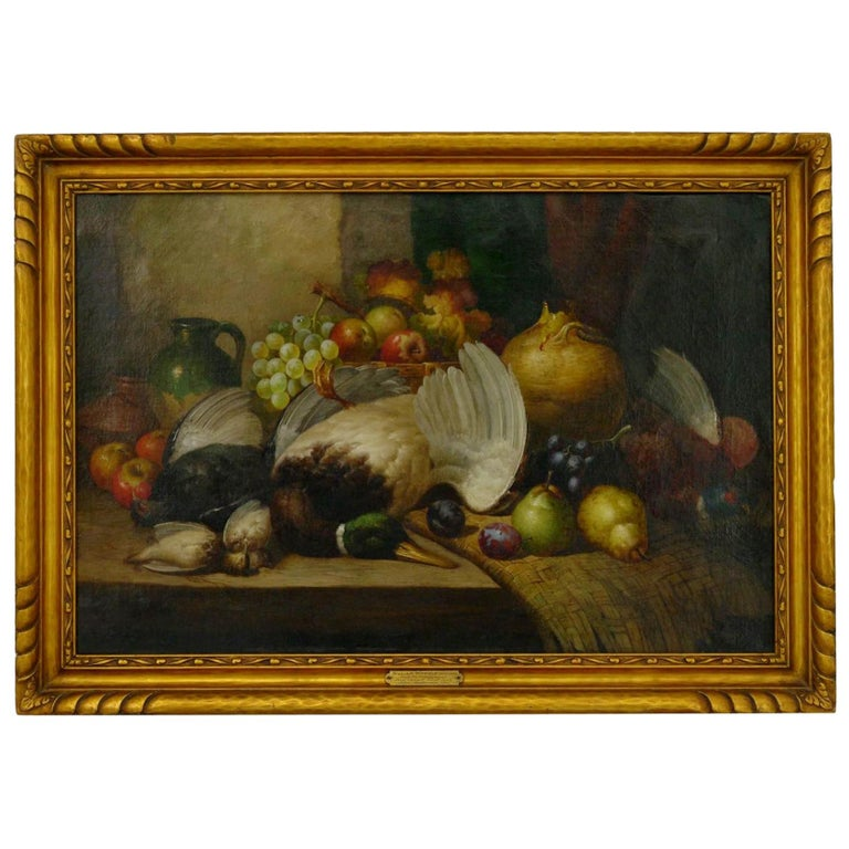 """""""Fruit & Game"""" Still Life Oil Painting by William Duffield For Sale"""