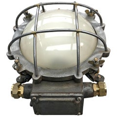 1970s Japanese Cast Iron Wall Light, White Glass Dome, Cage and Brass Fittings