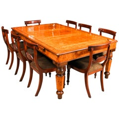 Antique Victorian Pollard Oak Snooker / Dining Table and 8 Chairs 19th Century