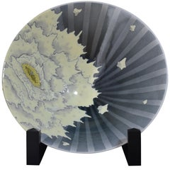 Large Contemporary Japanese Blue Porcelain Deep Charger by Kutani Master Artist
