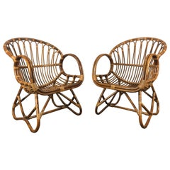 Pair of Mid-Century Modern after Franco Albini Bamboo or Rattan Lounge Chairs