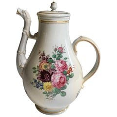 Mid-19th Century Richard Ginori Porcelain Coffee Pot with Roses and Tulip Decor