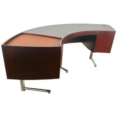 Rare Curved Desk on Chrome-Plated Base, Designed by Leif Jacobsen