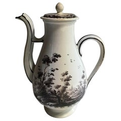 Richard Ginori 1750 Porcelain Coffee Pot with Black Painting, Doccia