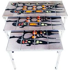 1960s Ceramics Nesting Tables