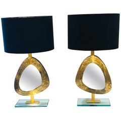 Pair of Large Gilded Bronze and Brass Table Lamps with a Mirrored Centre