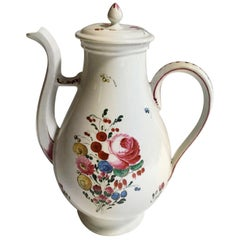 Mid-18th Century Richard Ginori Porcelain Coffee Pot with Country Flowers Decor
