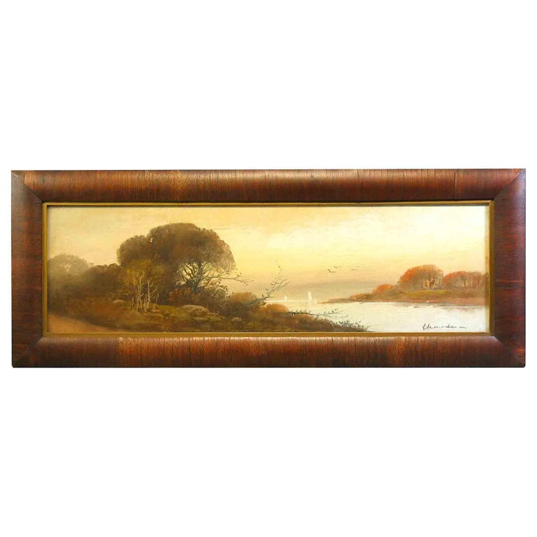 William Henry Chandler Pastel, Lake Scene with Sailboats For Sale