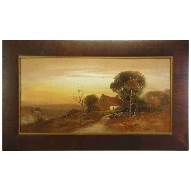 William Henry Chandler Pastel, Cottage in an Autumn Landscape For Sale
