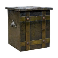 Antique Log Bin, Edwardian, Bound Metal, Fireside Box, Arts & Crafts, circa 1910
