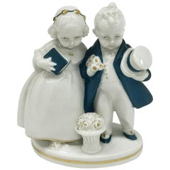 Small Girl and Boy Porcelain Figurine, Katzhütte by Hertwig & Co, 1920-1930