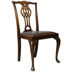 Set of Six Antique Dining Chairs, Victorian, Chippendale Revival, Leather c1900