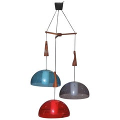 Round Guzzini Chandelier Red Blue Wood Mahogany Italian Design 1960s Plexiglass