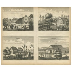 Antique Print of the Churches of Paneteripoum, Manipay, Changane and Vanarpone