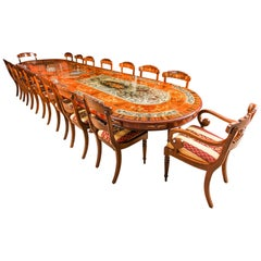 Bespoke Dining Table, Pewter, Lapis Lazuli and Agate Inlaid and 16 Chairs
