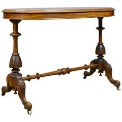 Antique Stretcher Table, Burr Walnut, English, Victorian, Oval, Side, Tea