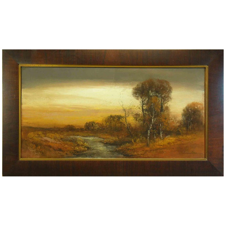 William Henry Chandler Pastel, Cottage by a Shallow Creek in Autumn For Sale